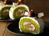 今月のスイーツ<br>あずきクリームの抹茶ロールケーキ