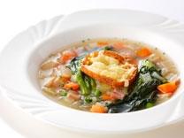 [おすすめ一品] <br>香味野菜と菜の花のブイヨンスープ